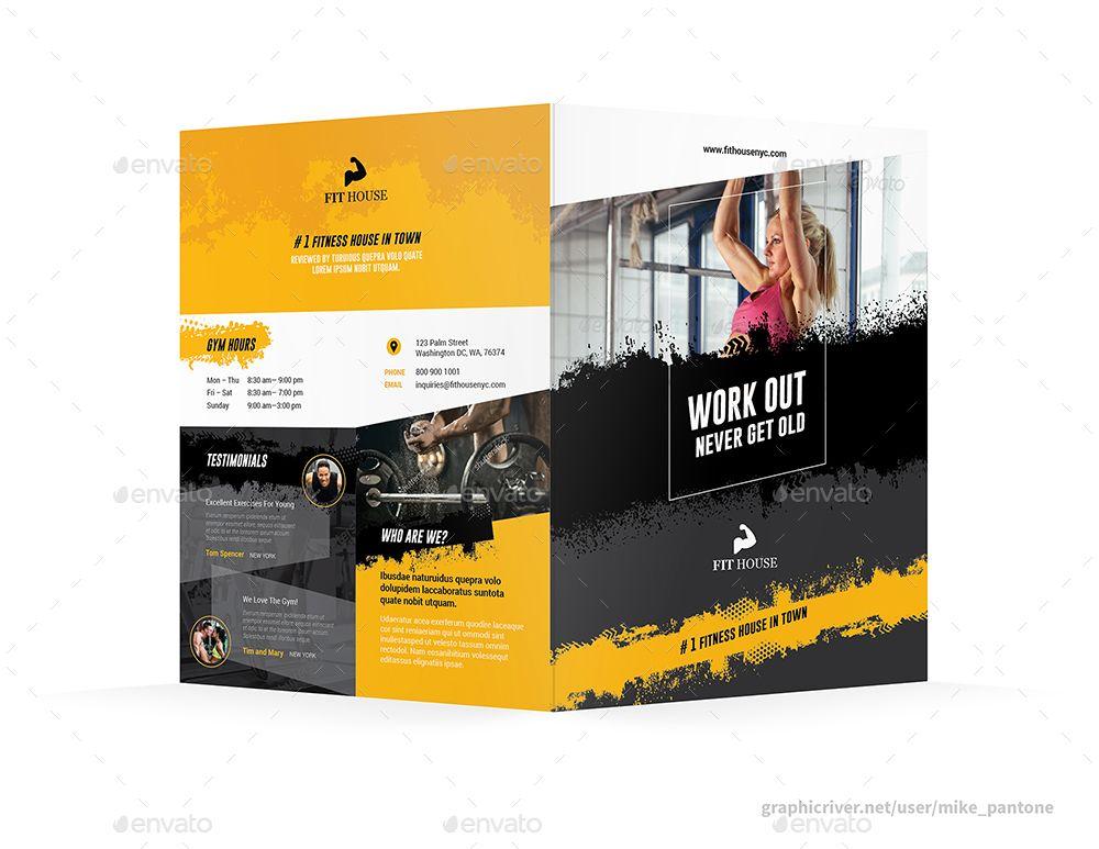 Fitness Bifold / Halffold Brochure 5 #Affiliate #Bifold, #AFFILIATE, #Fitness, #Brochure, #Halffold