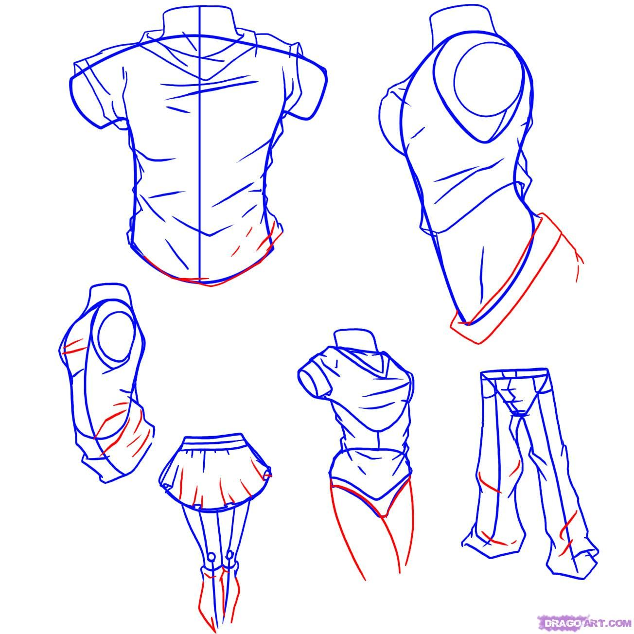 How To Draw Anime Clothes, Step by Step, Drawing Guide, by