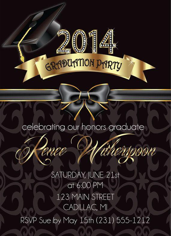 2014 Graduation Invitation Elegant Graduation Announcement