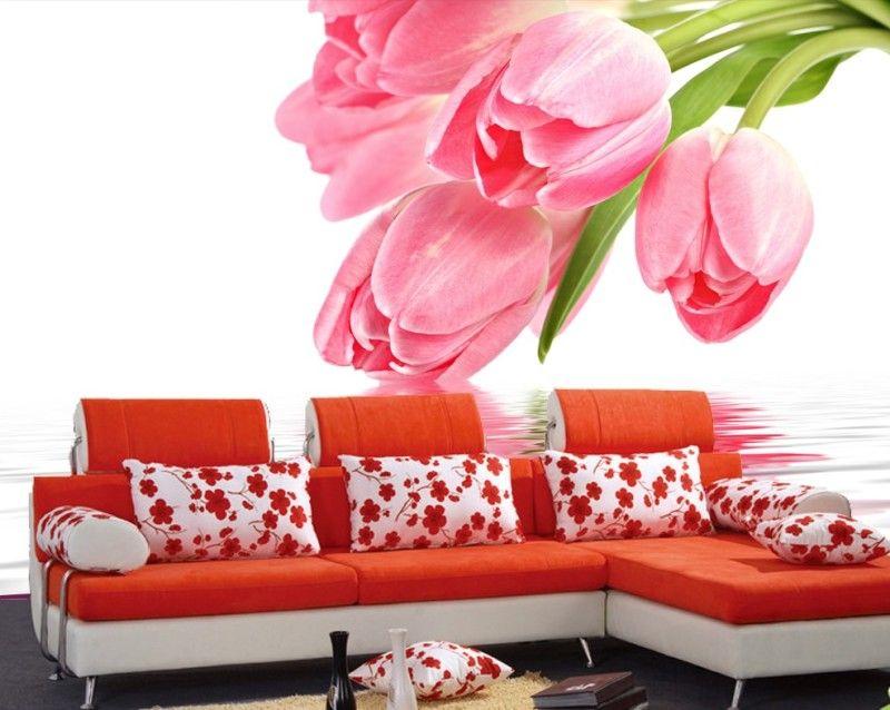 Beautiful light floral Custom 3d papel de parede useage living room ...