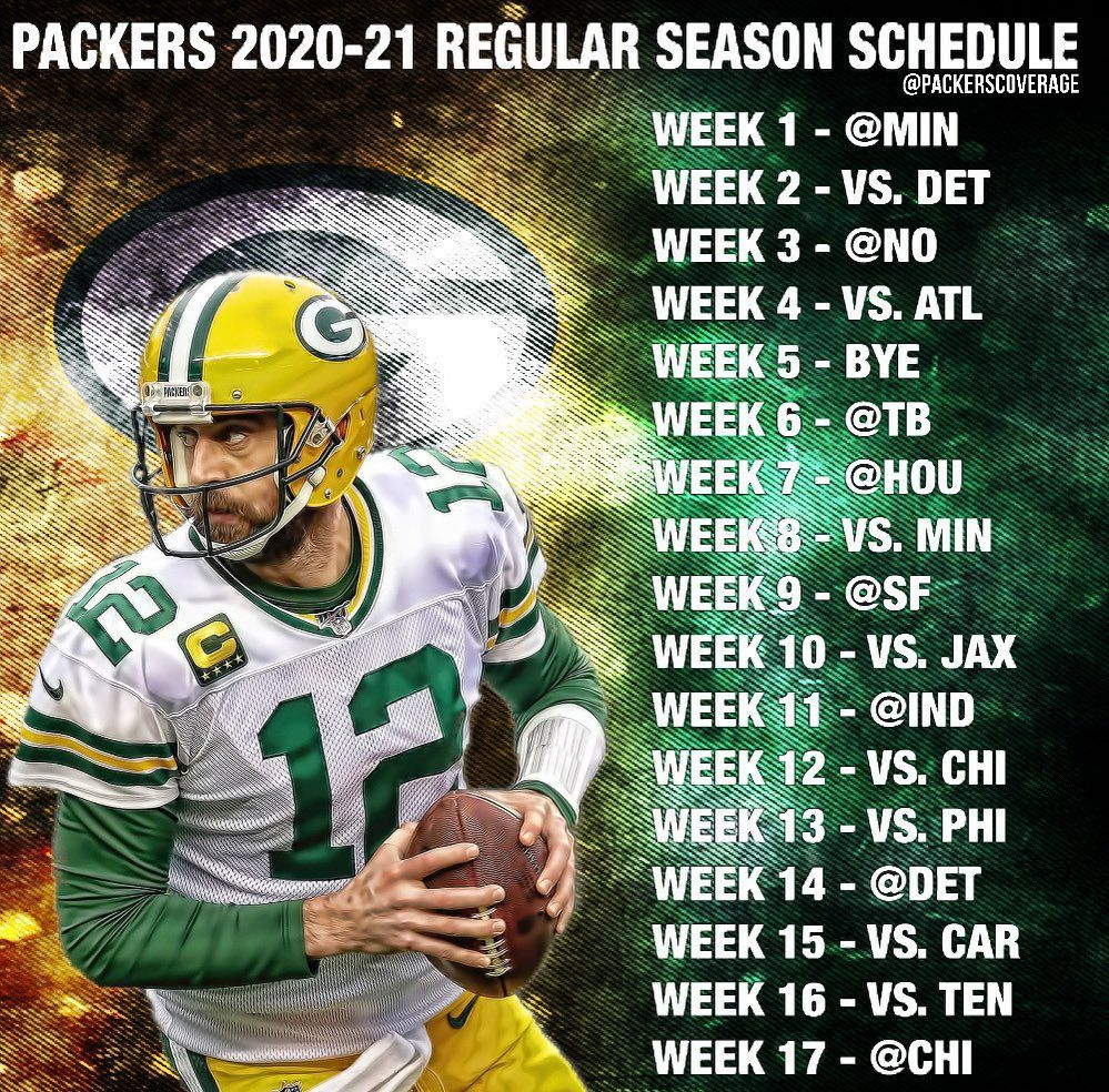 Green Bay Packers On Instagram Your Full Packers 2020 21 Regular Season Schedule Drop Your Record Predictions Below In 2020 Green Bay Packers Green Bay Packers