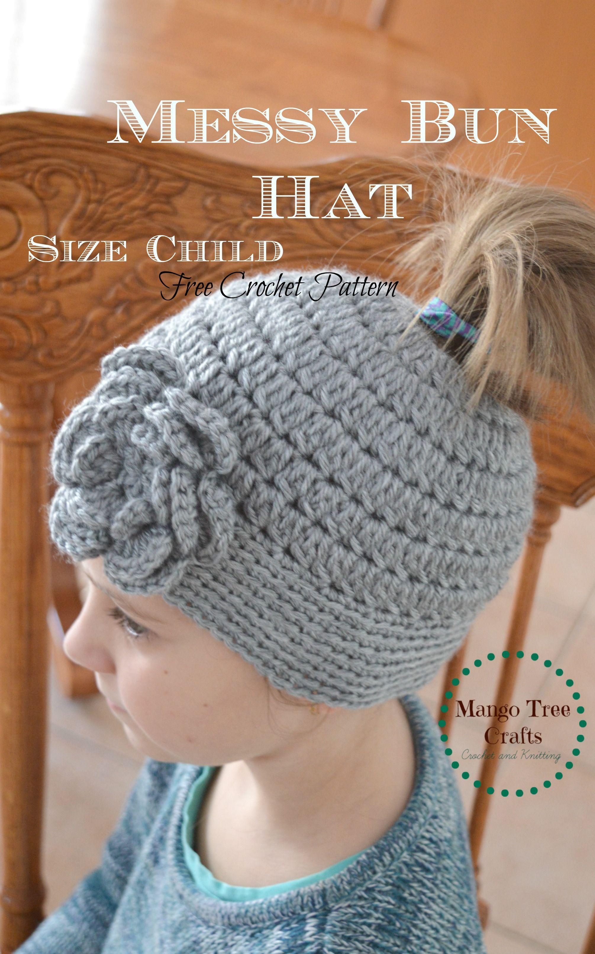 Messy bun crochet hat pattern for child | creative | Pinterest ...