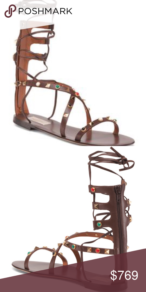 Valentino Made In Italy Ankle Wrap Leather Sandals Rockstud Detail