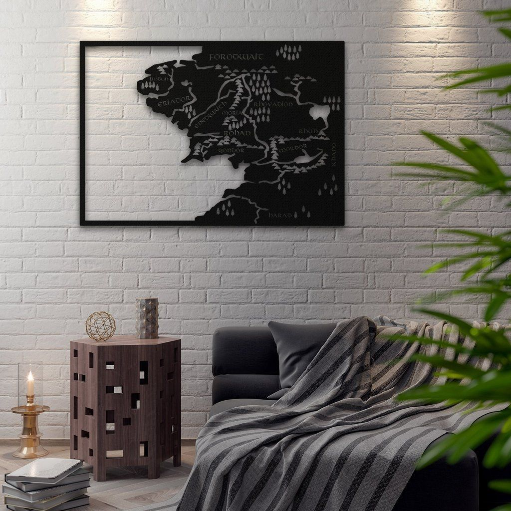 Middle Earth Metal Map Home Decor Metal Wall Art World Map Decor Inspirational Wall Art