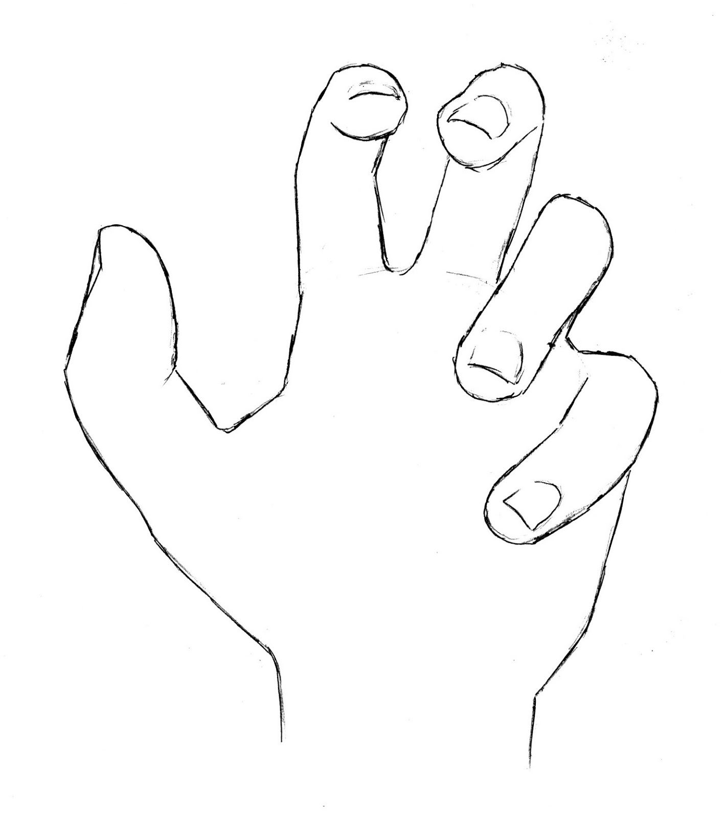 Draw Hand Open Palm Refined