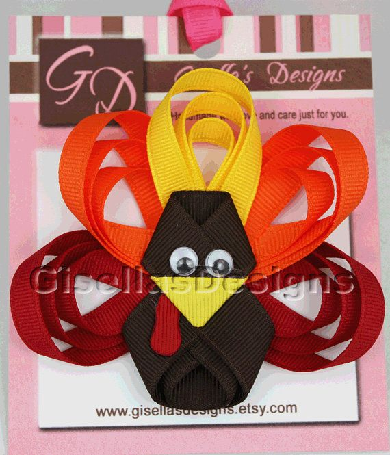 Thanksgiving Large Turkey Ribbon Sculpture Bow/ by GisellasDesigns, $10.95 -   25 ribbon crafts thanksgiving ideas