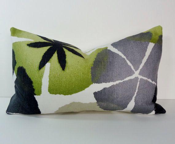 Green, Grey, Charcoal Robert Allen at Home, Lumbar Pinwheel Petals Pillow Cover, Pure Petals, Throw Pillow Cover, Green, Cushion, 12 x 20
