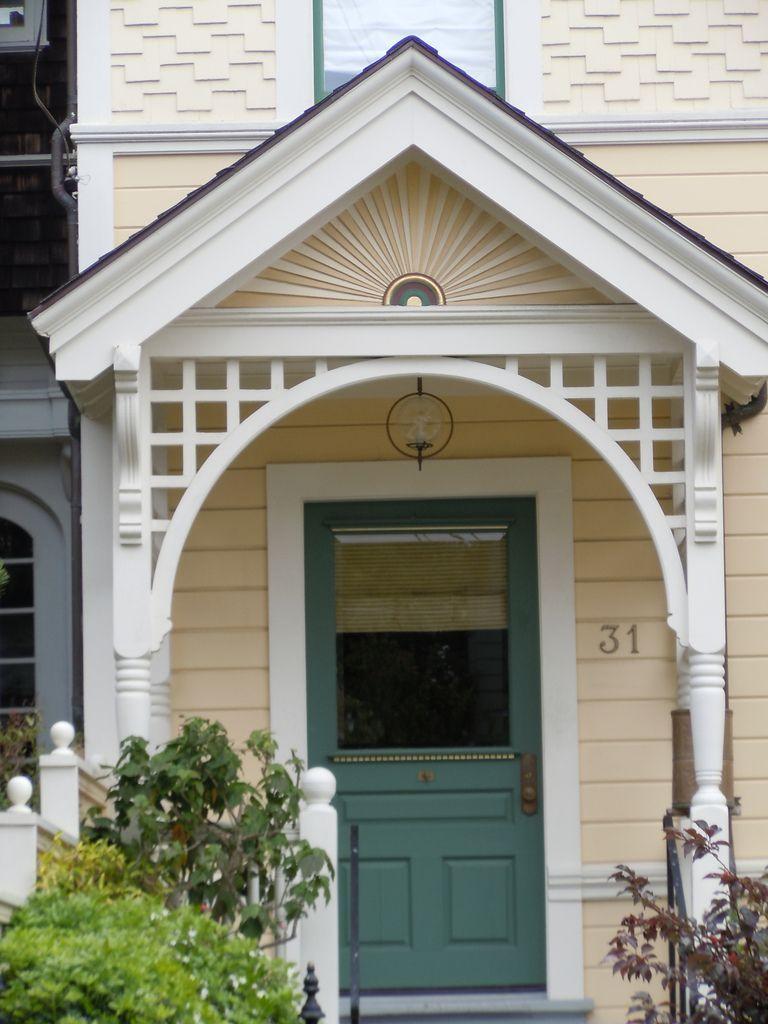 Sunburst Motif On Portico Roof Porch Remodel Portico Victorian House Colors