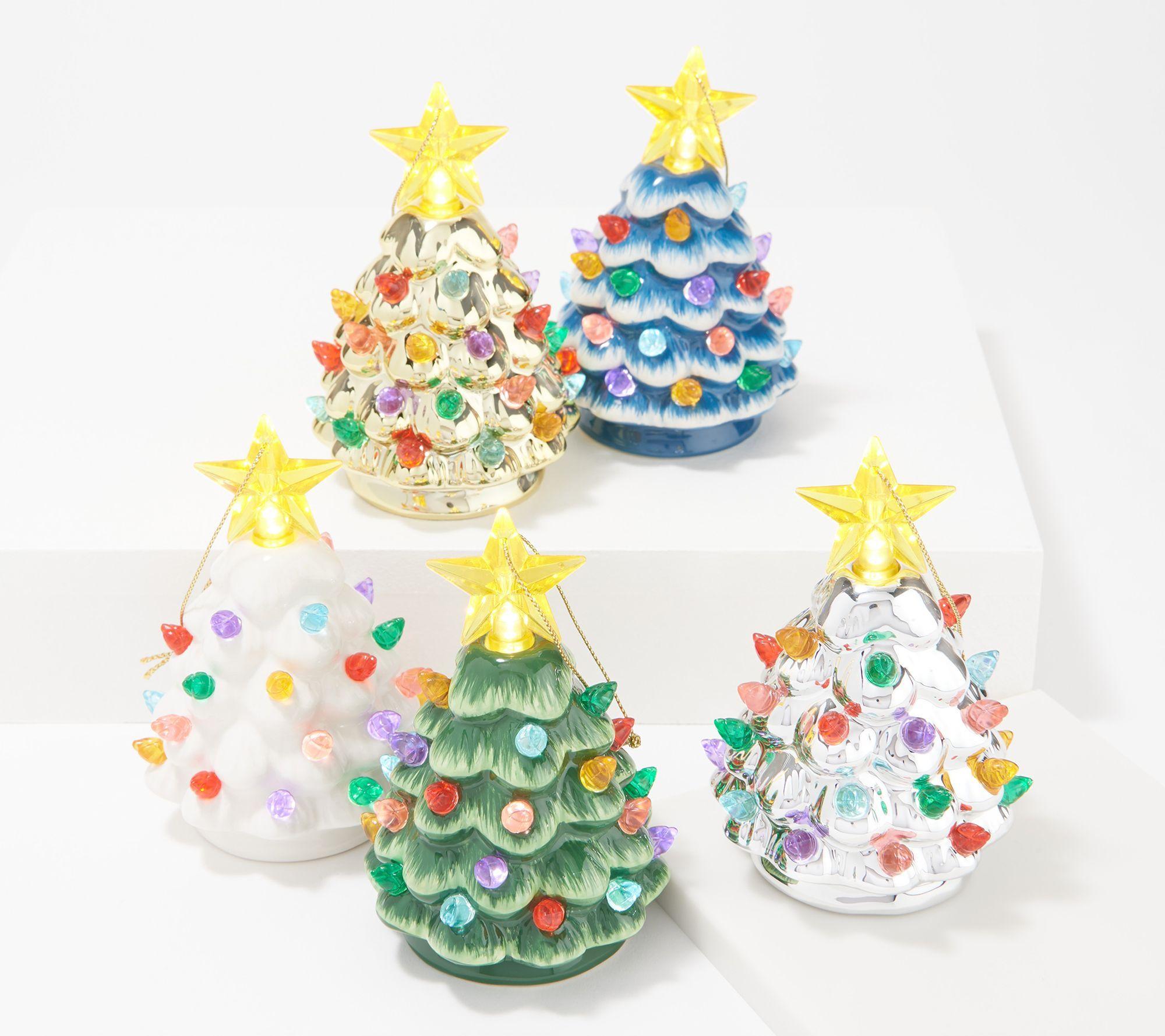 Mr Christmas Set Of 5 4 5 Mini Nostalgic Trees With Gift Bags Qvc Com In 2020 Christmas Settings Mini Christmas Tree Vintage Christmas Decorations