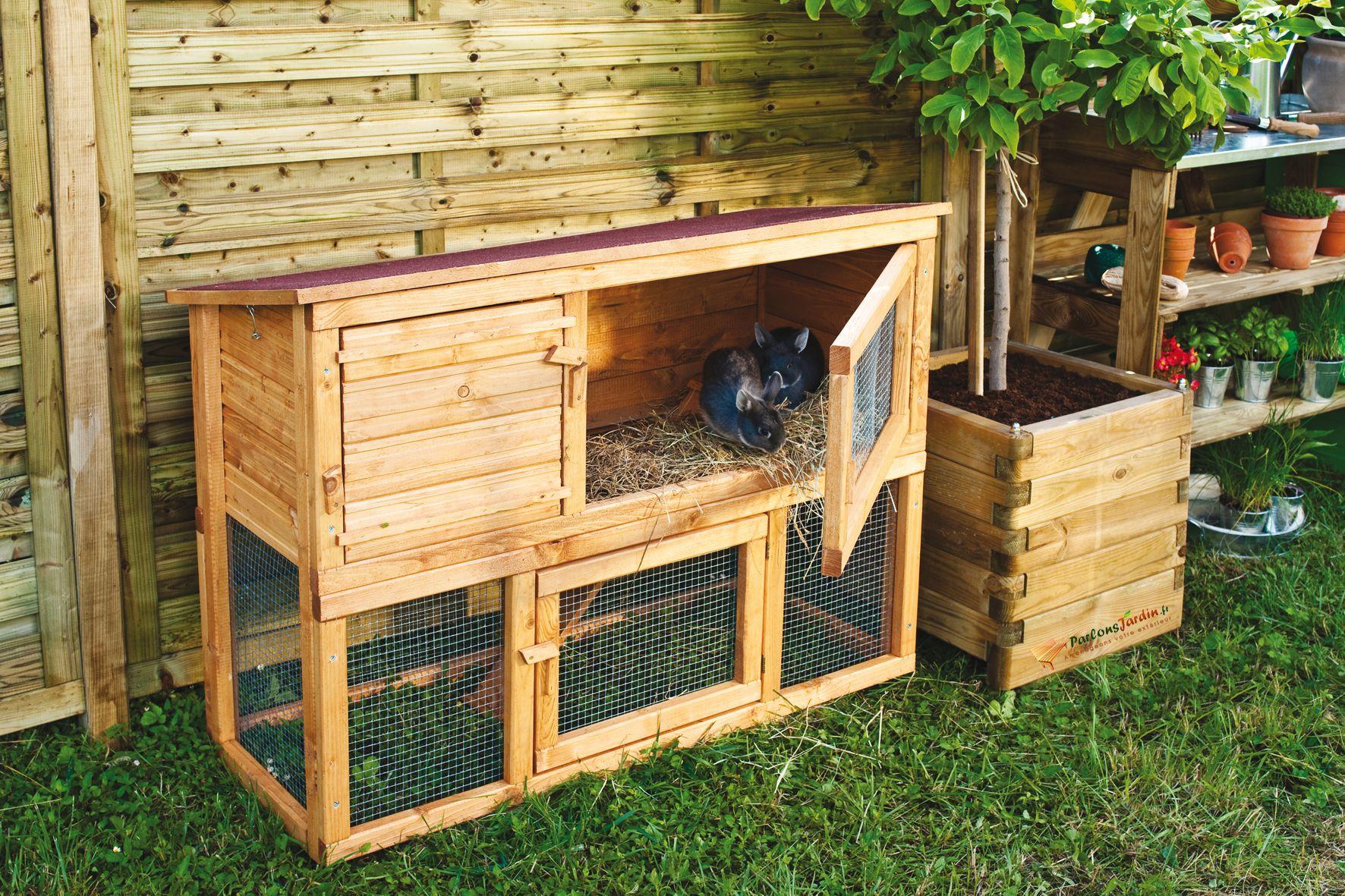 Un clapier en bois lasuré pour votre lapin !   Abris pour animaux ... e70f164da456