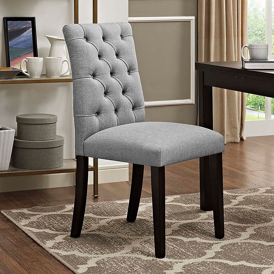 Modway Duchess Upholstered Dining Side Chair In Light Grey