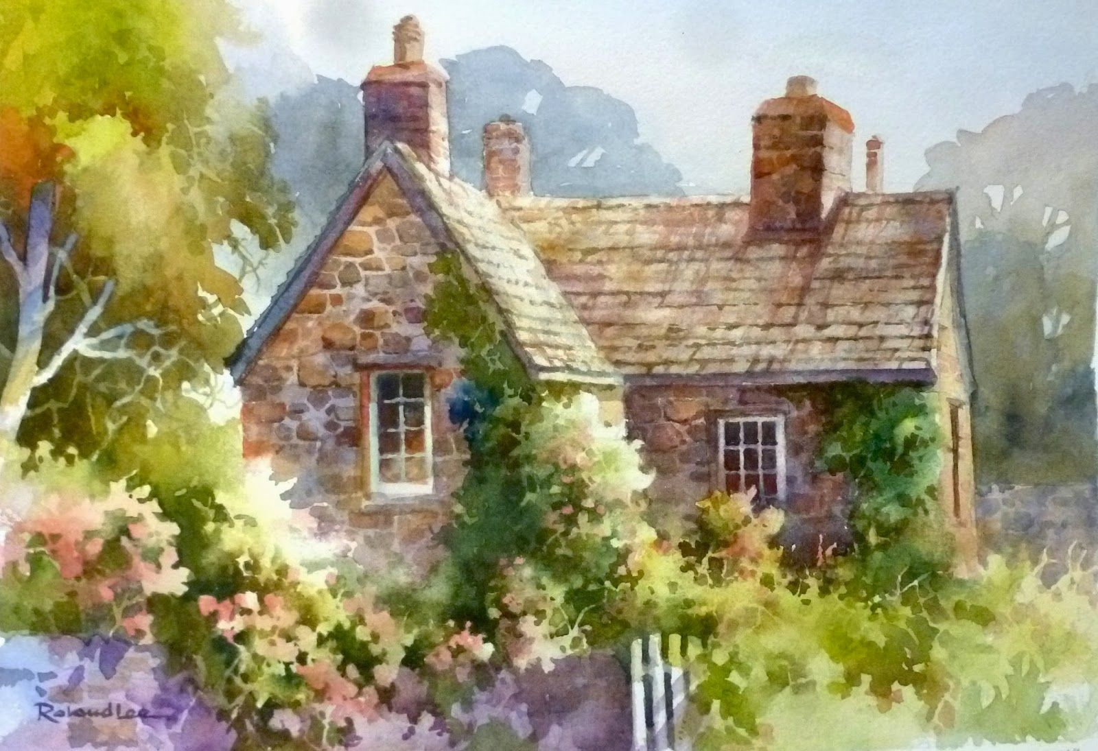 superb watercolor cottages #1: Roland Lee Travel Sketchbook: New Roland Lee Paintings from Salt Lake City  Watercolor Workshops