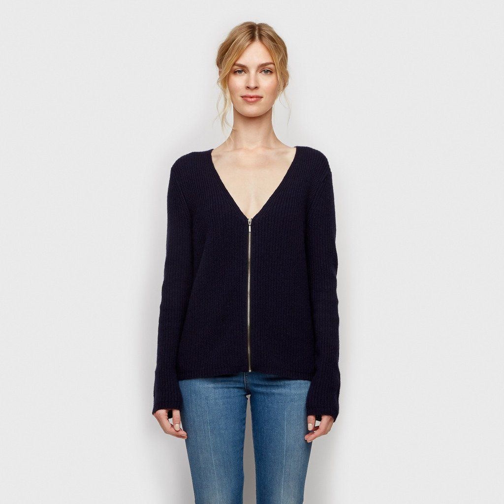 Cashmere Ribbed Zip Cardigan - Navy | Cashmere