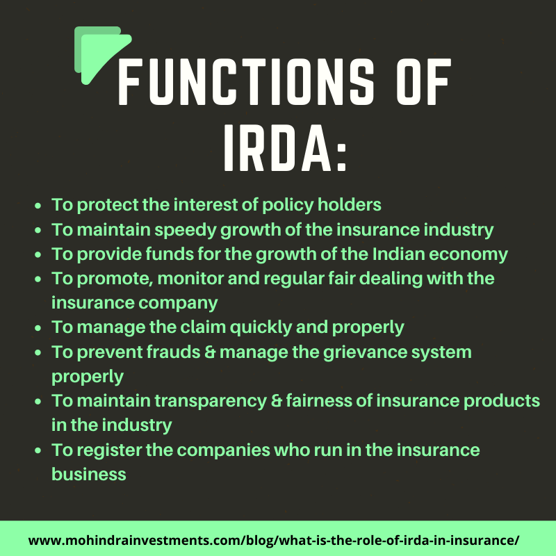 What Is The Role Of Irda In Insurance In 2020 Compare Insurance