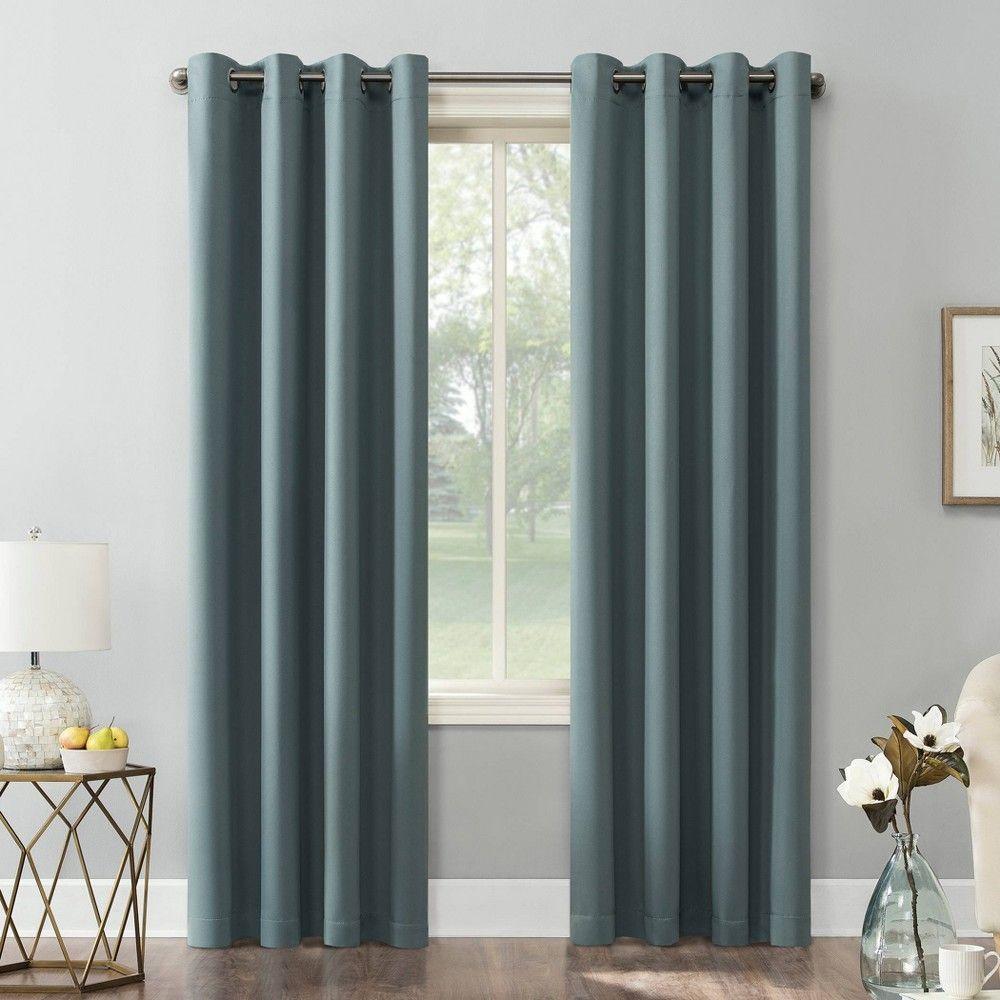 84 X54 Kenneth Energy Saving Blackout Grommet Top Curtain Panel Teal Sun Zero In 2020 Blue Curtains Living Room Panel Curtains Grommet Top Curtains
