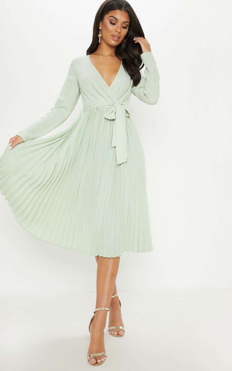 Sage Green Long Sleeve Pleated Midi Dress Green Long Sleeve Dress Sage Green Bridesmaid Dress Pleated Midi Dress [ 1180 x 740 Pixel ]