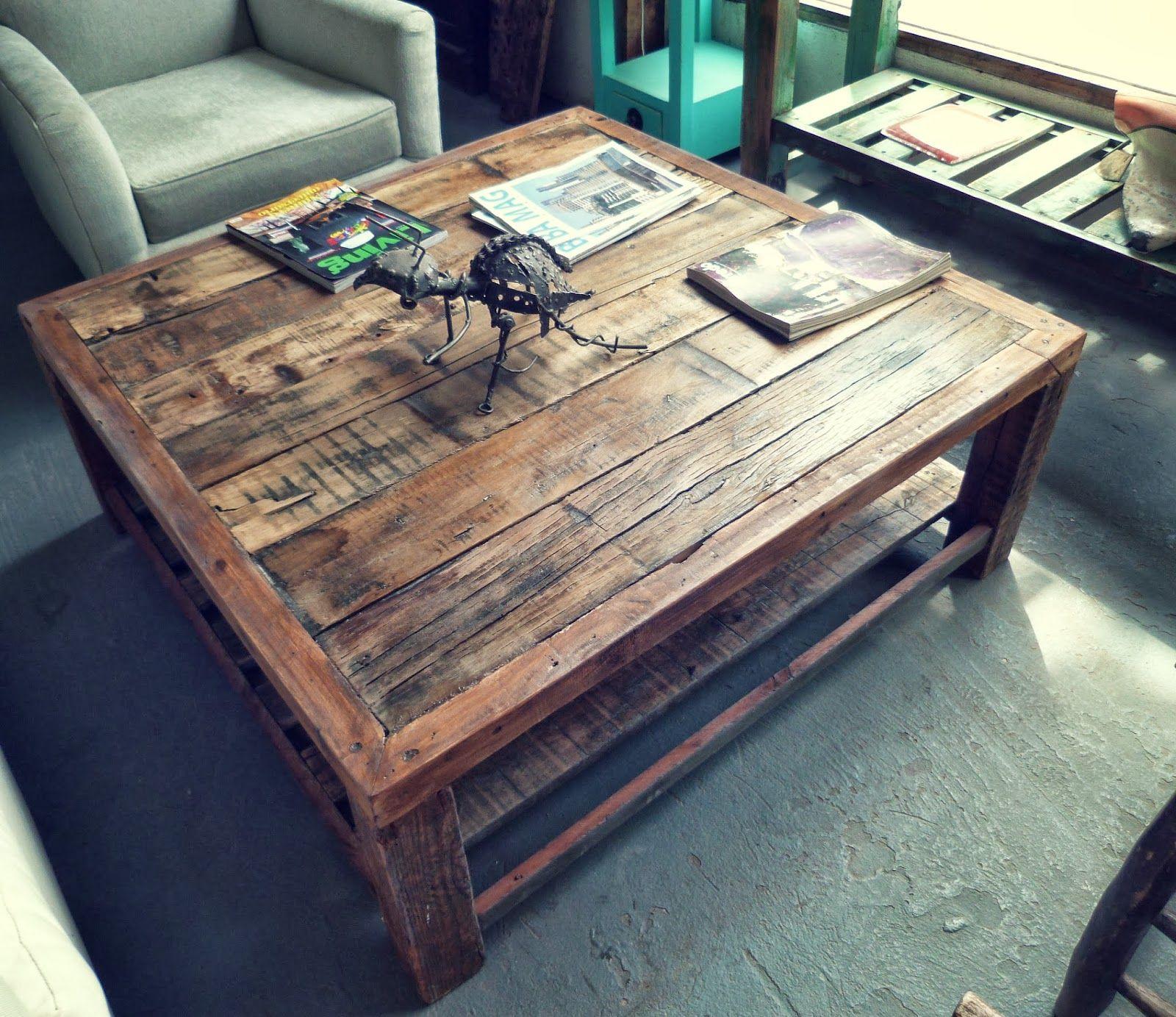 mesa ratona rustica madera tablones reciclar reciclado mesa living