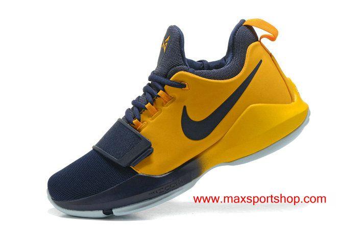 2017 Nike PG1 iD Dark-blue Gold PG\u002713 Basketball Shoes