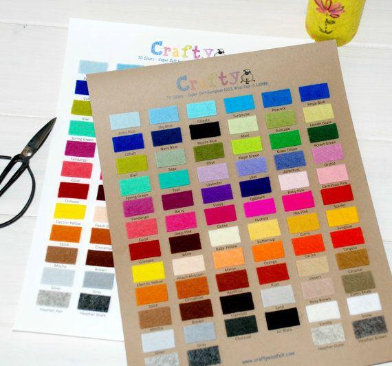Wool Felt Color Chart 100 Wool Felt Color By Craftywoolfelt Wool Felt Merino Wool Felt Handmade