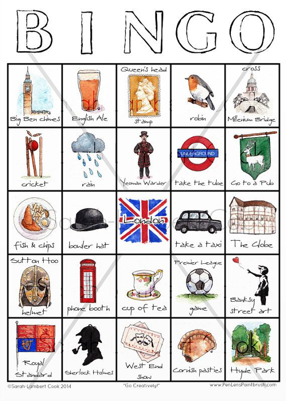 London Illustrated Travel Bingo Printable By Sarahlambertcook  Full Time Etsy Crafters