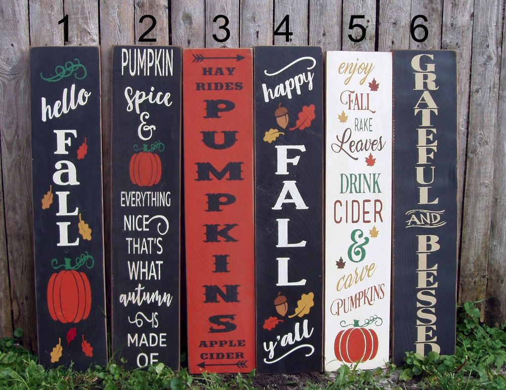 Reversible Vertical Porch Signs For Fall 3 Feet Porch Signs Fall Decorations Porch Reversible Sign
