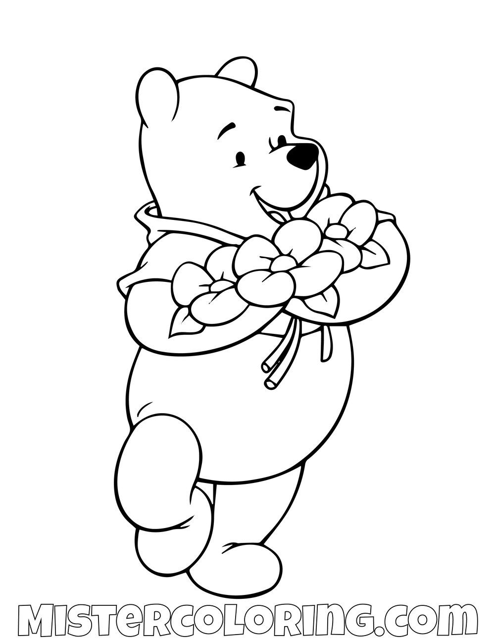 Winnie The Pooh With Roses Coloring Page  Coloriage winnie