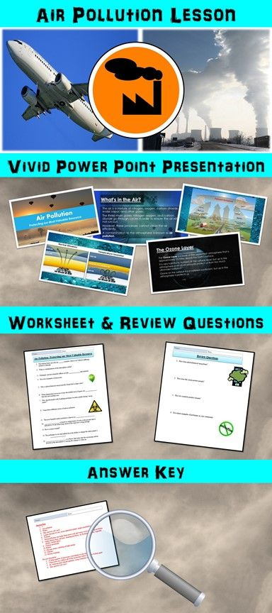 Air Pollution Lesson With Power Point Worksheet And Review Page