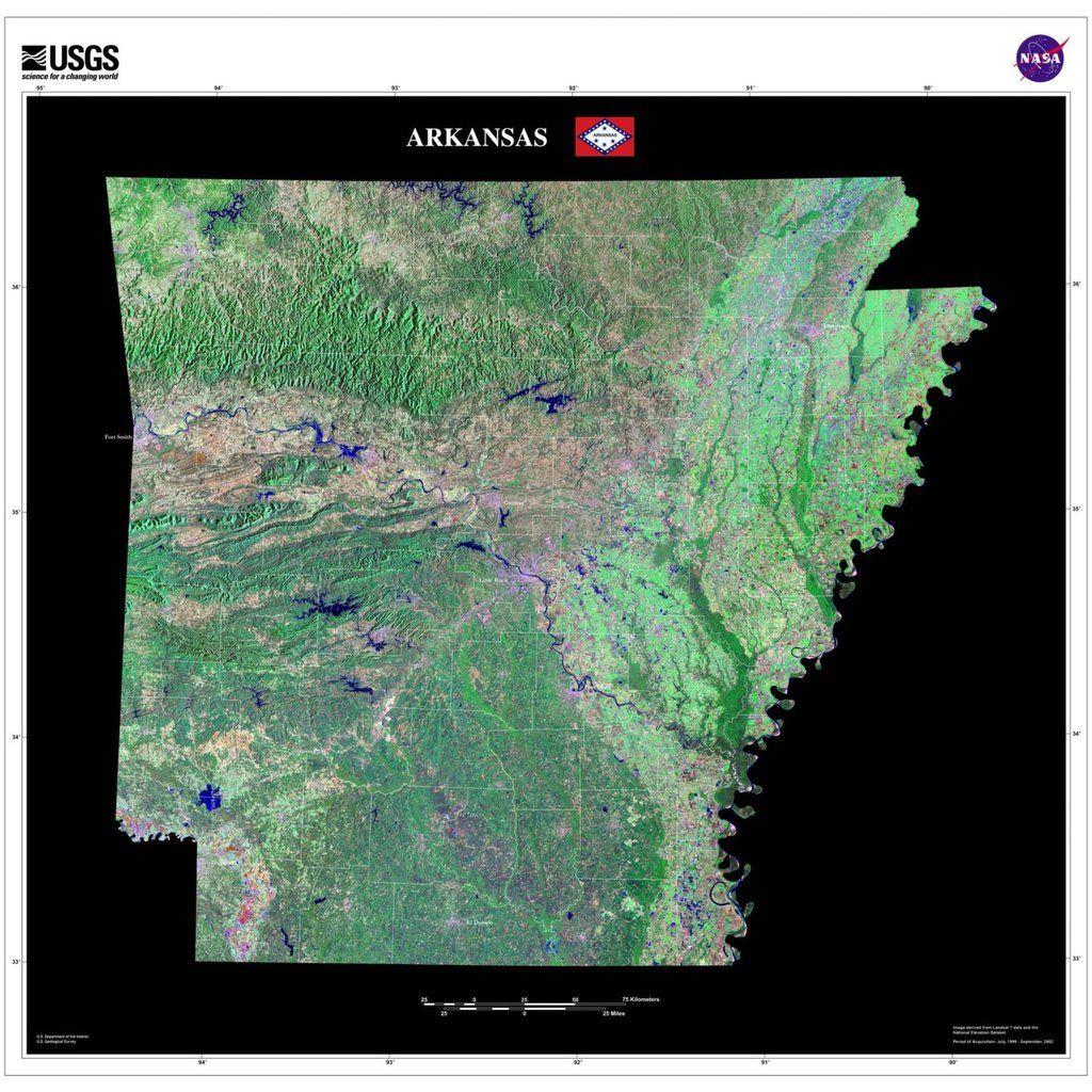 Arkansas Satellite Imagery State Map Poster - Little rock arkansas on us map