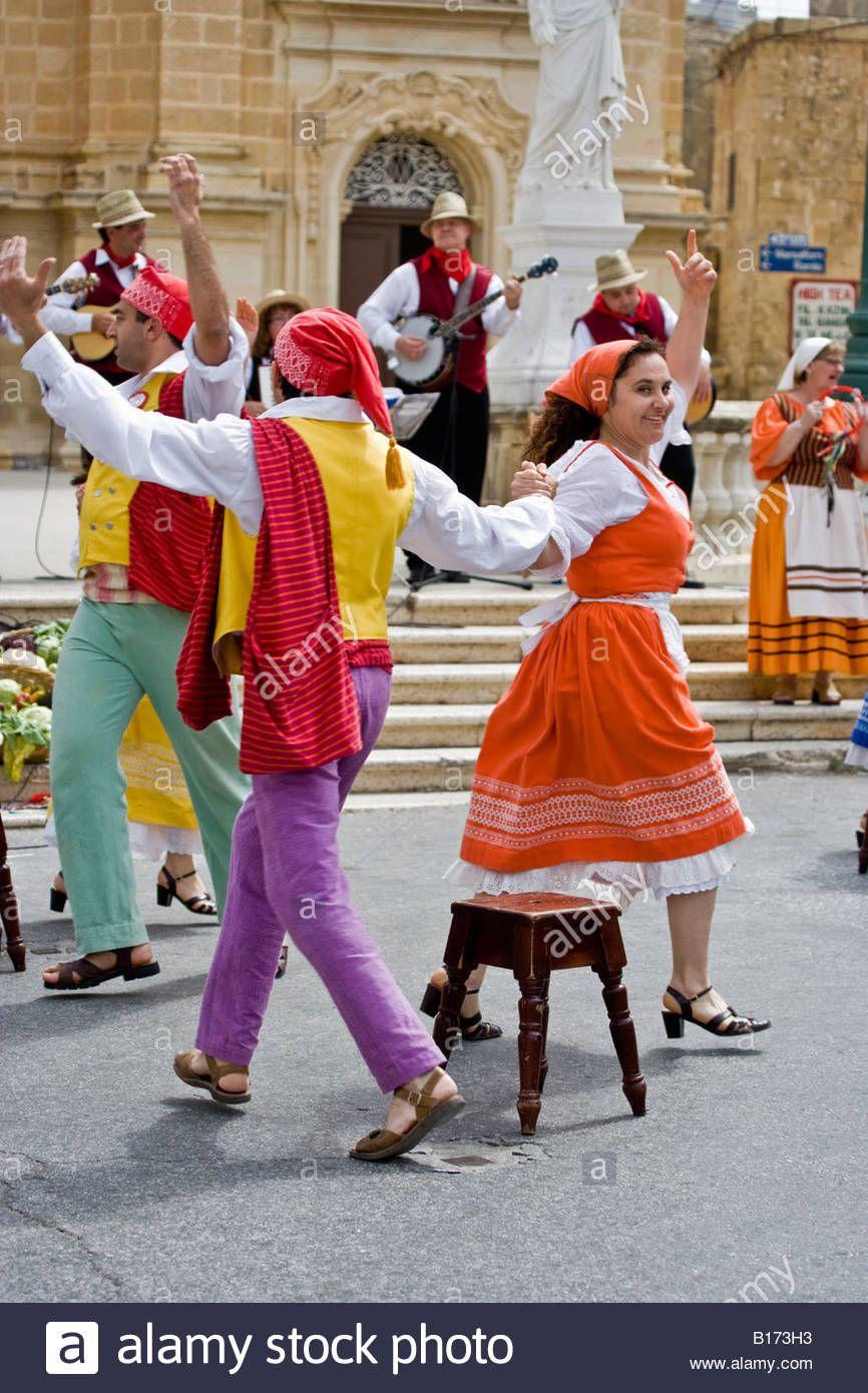 Folk Group Victoria Gozo Malta Stock Photo, Royalty Free