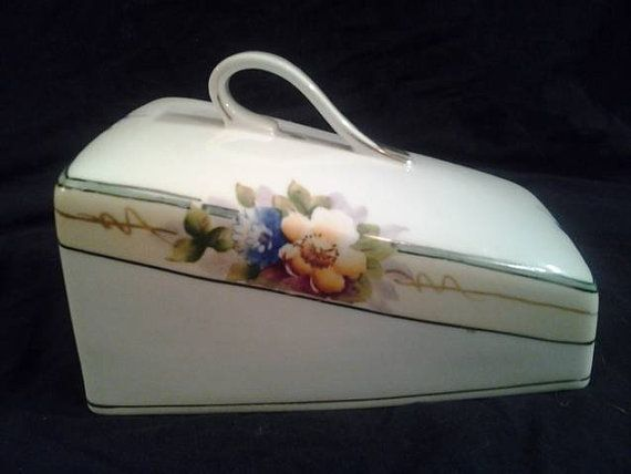Lovely Vintage Nippon Handpainted Porcelain Cheese by kathryntm, $13.00