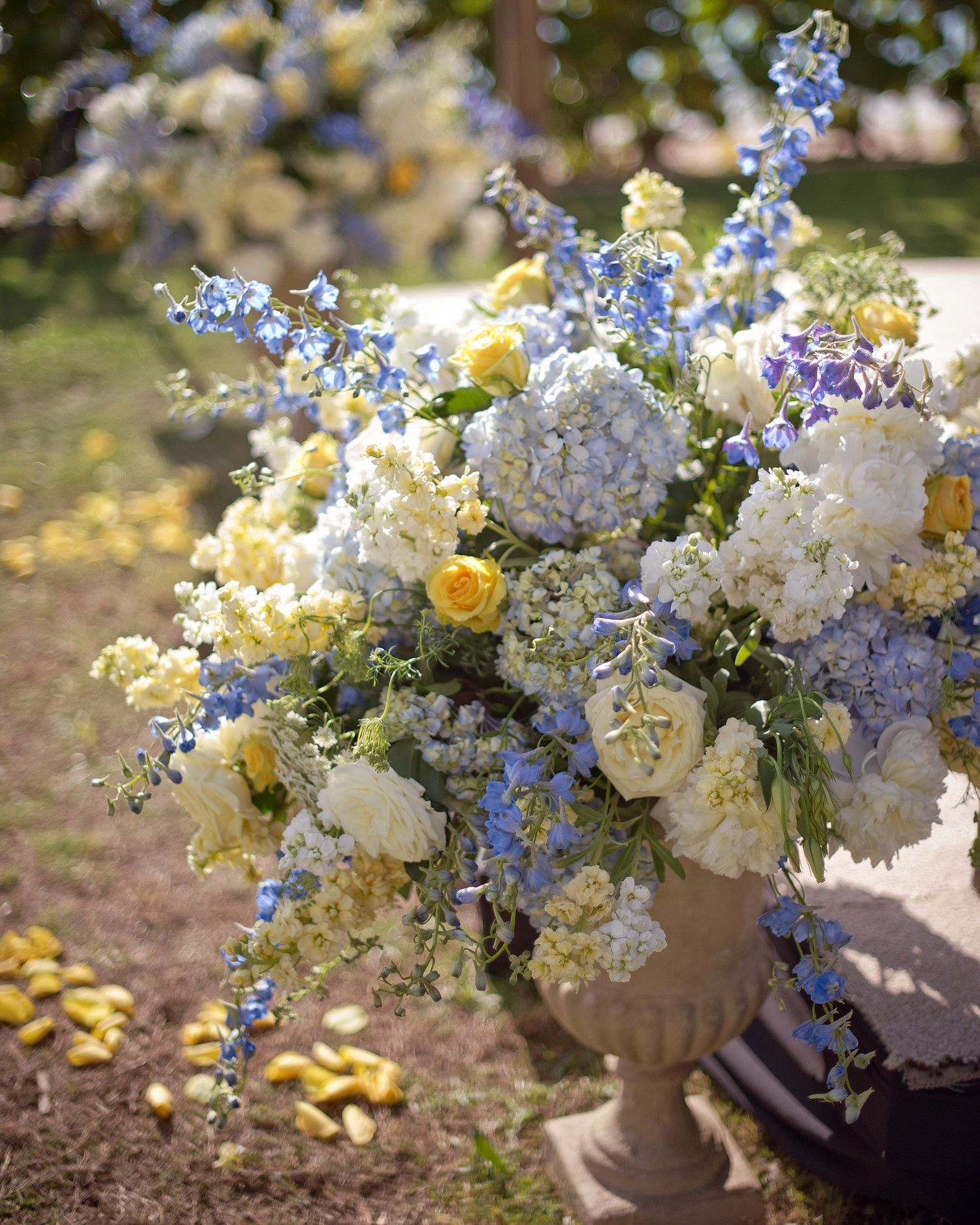 Wedding decor images zimbabwe  Blue and yellow flowers decorated the area  Floral  Pinterest