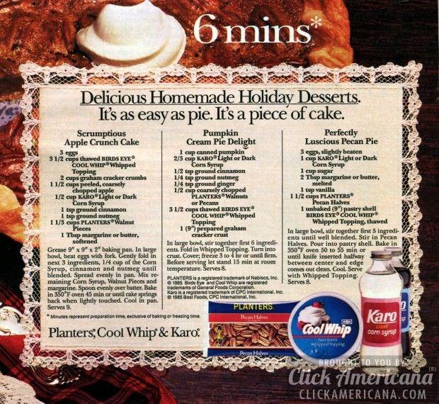 Apple Crunch Cake, Pumpkin Cream Pie & Pecan Pie recipes (1985)  Read more at http://clickamericana.com/topics/food-drink/apple-crunch-cake-pumpkin-cream-pie-pecan-pie-recipes-1985 | Click Americana