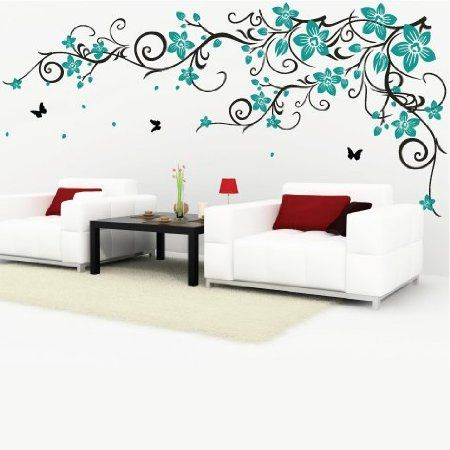 Decomatters Butterfly Vine Flower Wall Stickers Black Vines And