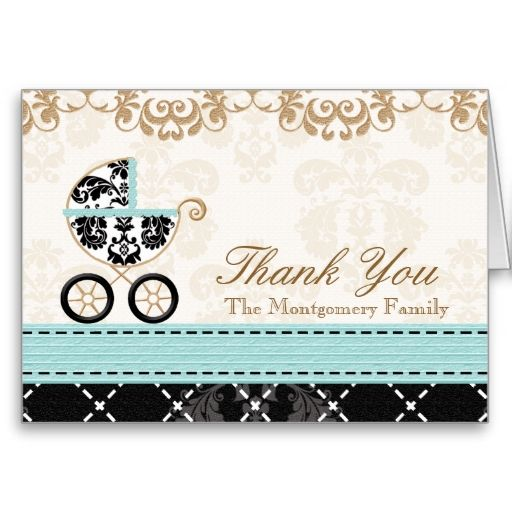 Eggshell Blue Damas Baby Carriage Shower Thank You Greeting Card