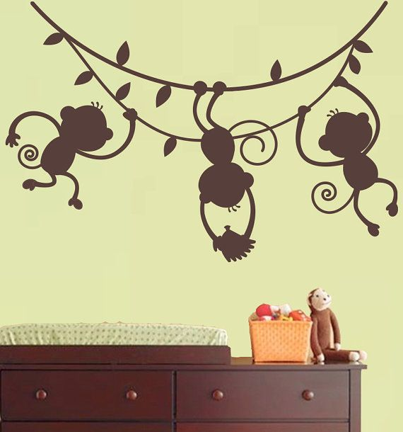 Monkey Wall Decal Jungle Safari - 3 hanging monkey Silhouette ...