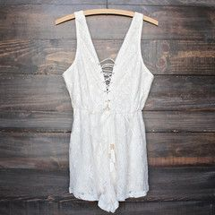 lace overlay lace-up romper - cream