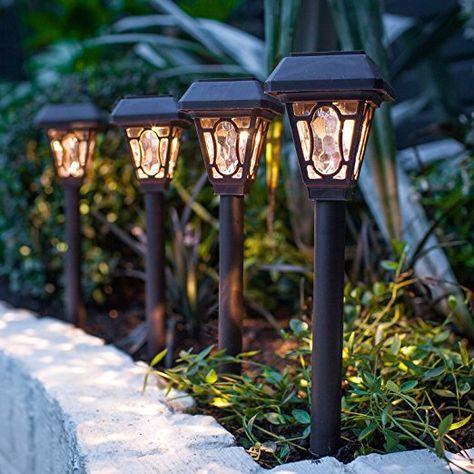 Lights4fun 4er Set LED Solar Wegbeleuchtung Barock - solarleuchten - solarleuchten garten antik