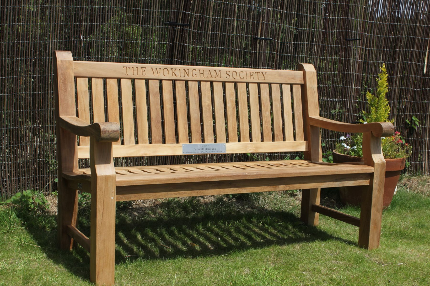 Engraved Teak Garden Bench | Wood Carved Memorial Benches ...