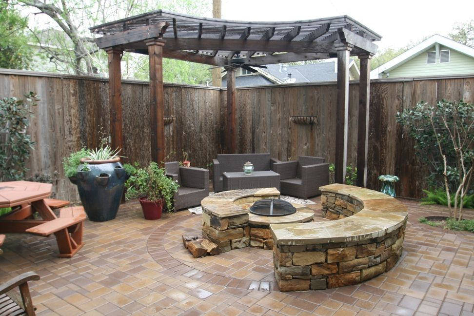 Paver Patio With Custom Arbor And Firepit In Houston