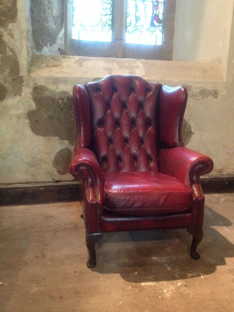 Vintage Chesterfield Armchair Queen Anne High Back Fireside Wing OxBlood  Leather In Antiques, Antique Furniture