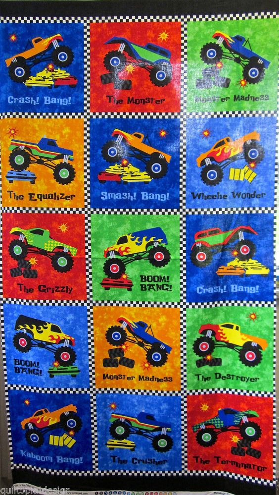 Northcott Fabric Bright Quilt Panel Boy Style Material Monster ... : monster truck quilt - Adamdwight.com