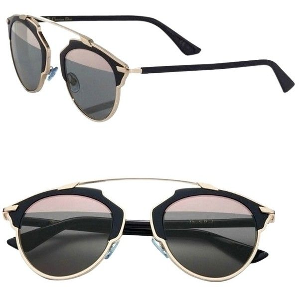 50050d0b4614 Pre-owned Dior  so Real  48mm Mirrored Sunglasses Gold Dark Navy grey...  ( 580) ❤ liked on Polyvore featuring accessories