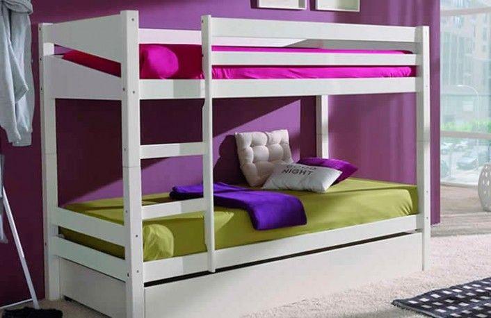 Litera infantil de madera con caj n en color blanco for Habitaciones juveniles baratas online