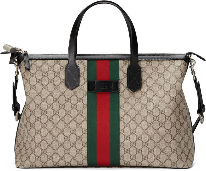 Shop the Web GG Supreme duffle by Gucci. A carry-on duffle with a secure  zip closure. Equipped with double leather handles and an adjustable  shoulder strap. 68f122b0506