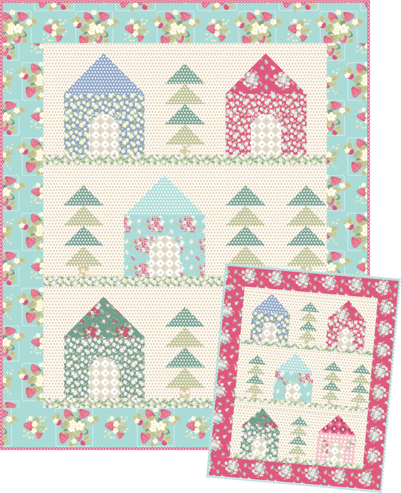 John Cotton Bettdecken: Cozy Cabins Quilt (free Pattern!) (Quilting In The Rain