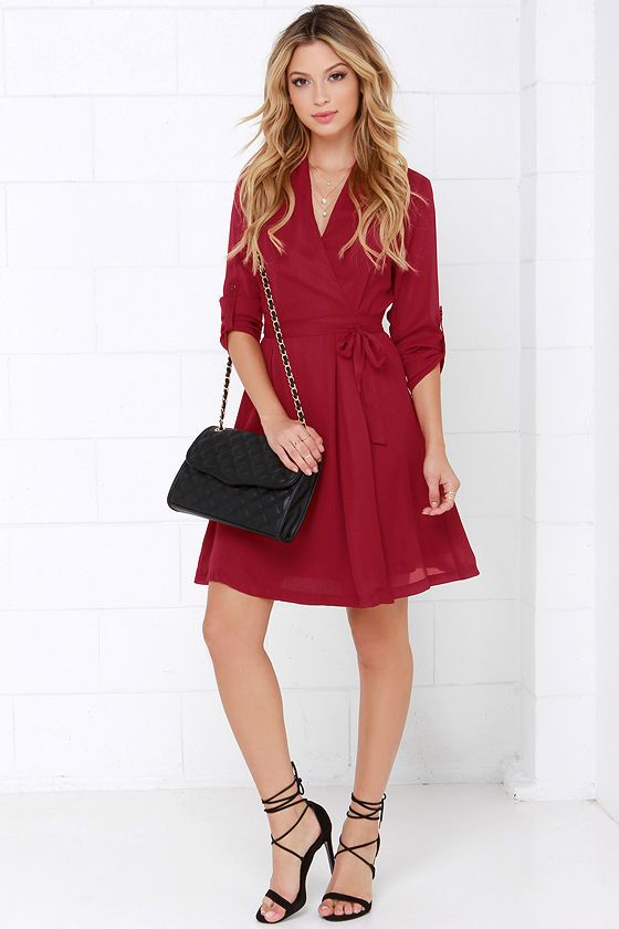 d867d3e7f7fd Candy Wrapper Wine Red Long Sleeve Wrap Dress at Lulus.com!