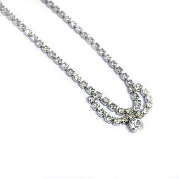 Terrific Vintage Clear Rhinestone Choker (680 UAH) ❤ liked on Polyvore featuring jewelry, necklaces, fondestmemories, choker jewelry, clear rhinestone necklace, adjustable necklace, vintage rhinestone necklace and clear necklace