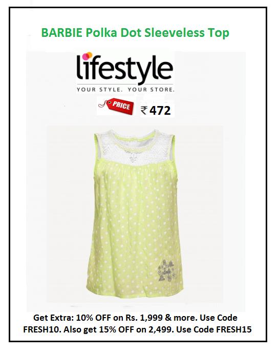 aa090947dd8f9  Barbie  Polka  Dot  Sleeveless  Top  Design   Printed  Price  ₹472.00   Style   Casual  Fabric   Cotton