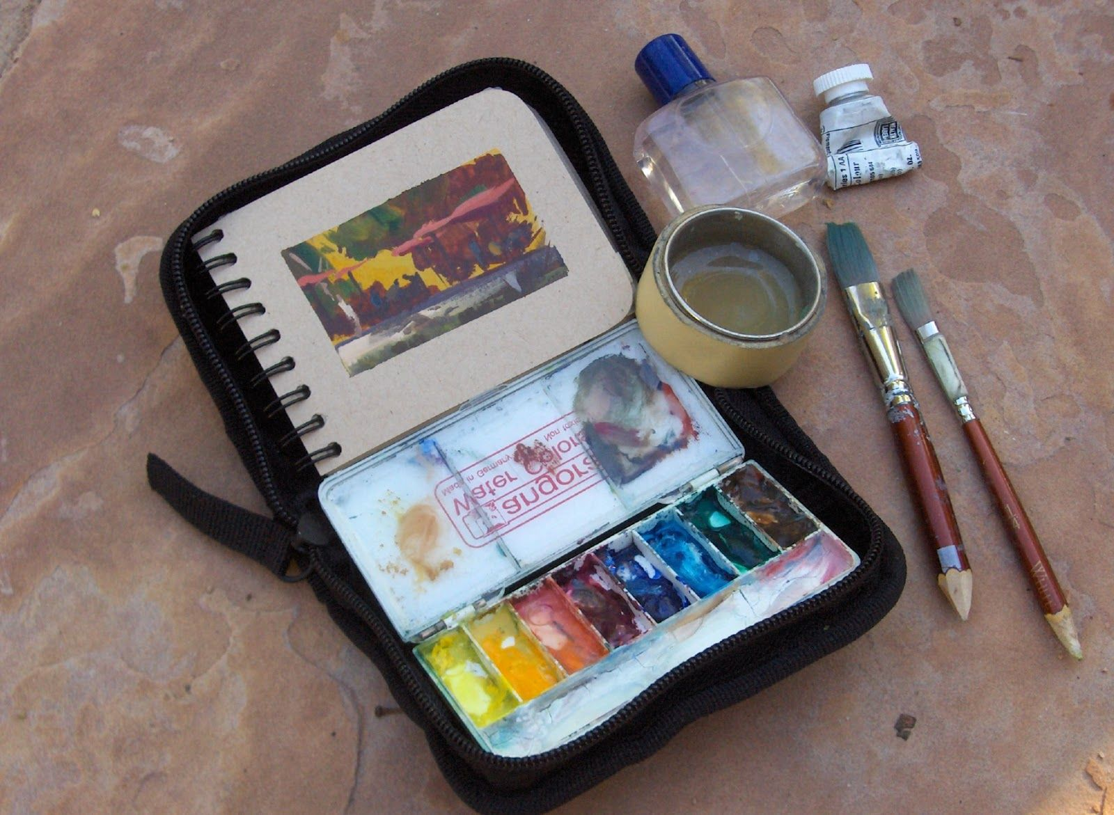 Nathan Fowkes landscape field painting kit. Watercolors