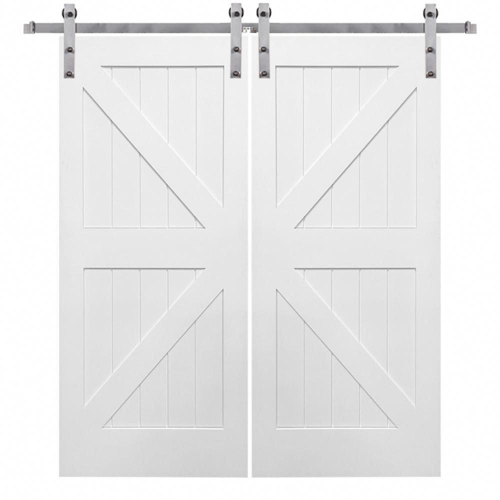 Ante Scorrevoli In Kit.Mmi Door 72 In X 84 In Primed K Plank Mdf Barn Door With Sliding